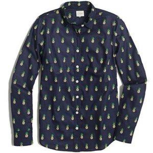 J, Crew navy pineapple button down Shirt S